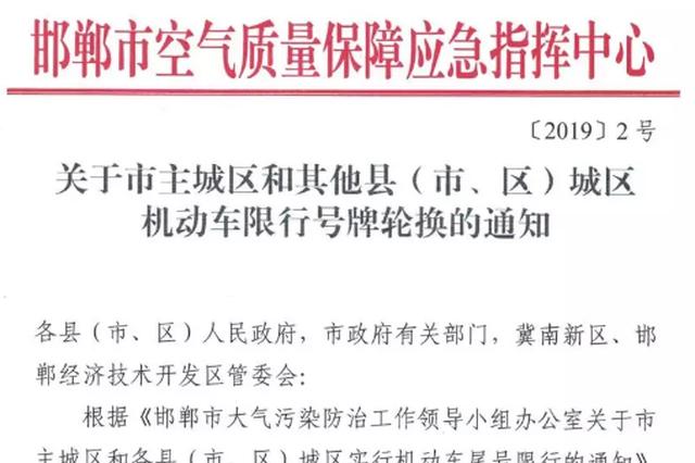 7月8日起邯郸机动车开启新一轮轮换限行