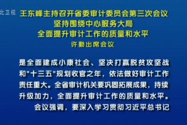 王东峰主持召开省委审计委员会第三次会议