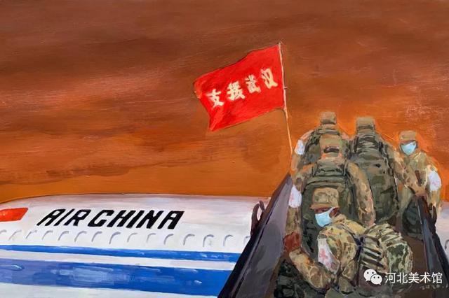 《钟南山院士在武汉》 张龙新 (特邀中国艺术研究院画家) 国画