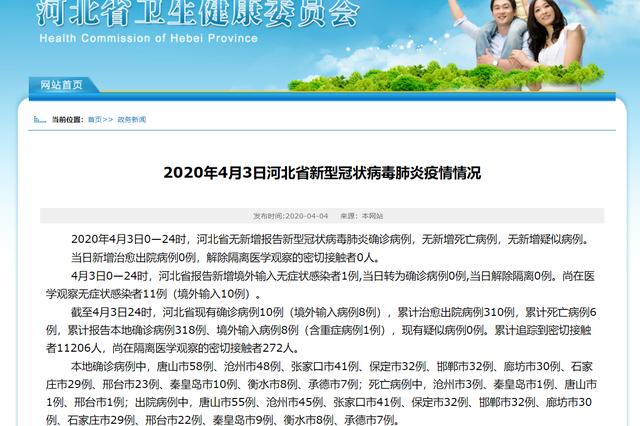 4月3日河北省报告新增境外输入无症状感染者1例
