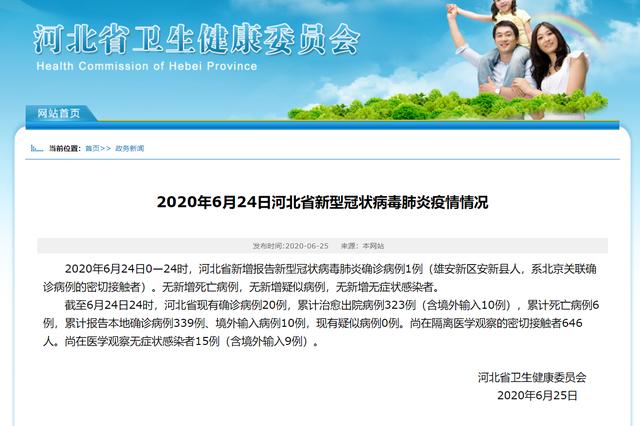 河北新增确诊病例1例 系北京关联确诊病例密接者