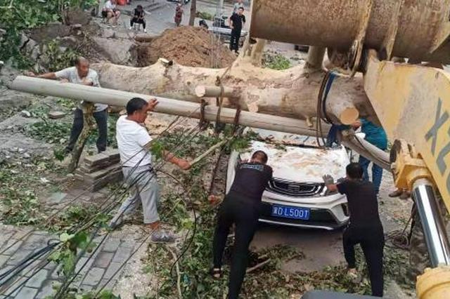 河北峰峰矿区遭遇13级大风 6乡镇大面积停电