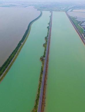 航拍南昌瑶湖 一半灰色一半碧绿