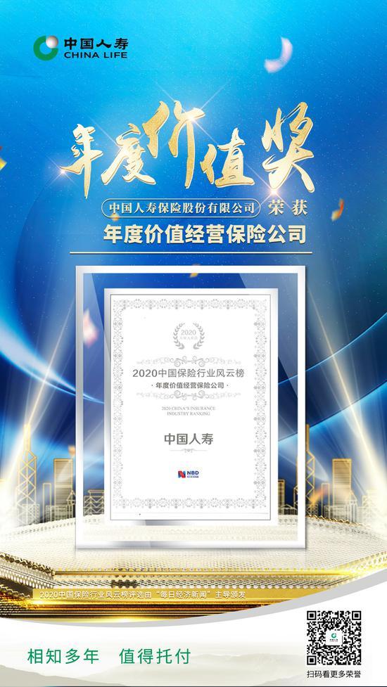 """中国人寿荣膺2020中国保险行业风云榜 """"年度价值经营保险公司"""""""