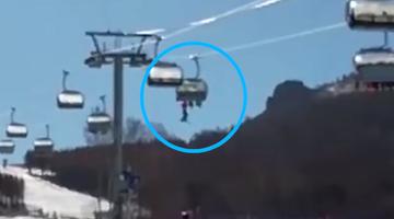 小孩在河北滑雪场缆车坠落前画面
