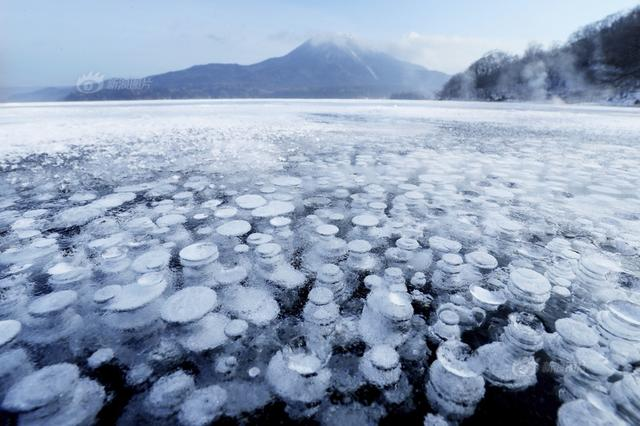 """北海道阿寒湖现""""冰冻气泡""""奇景 令人叹为观止"""