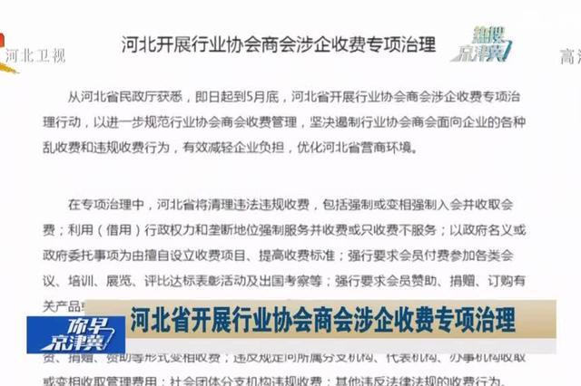 河北省开展行业协会商会涉企收费专项治理