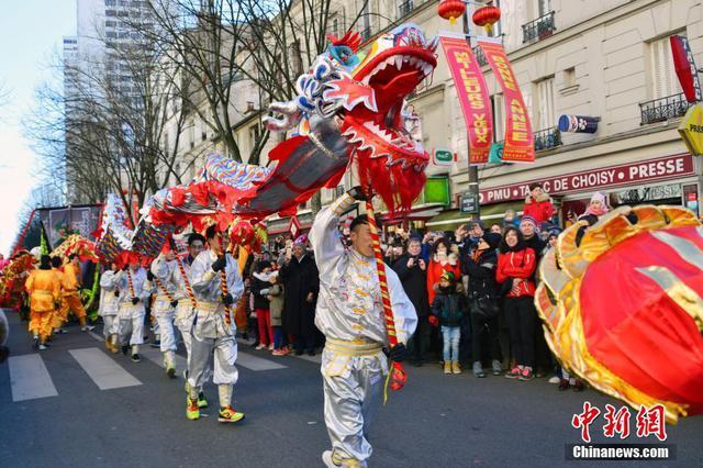 巴黎唐人街举行春节彩妆游行