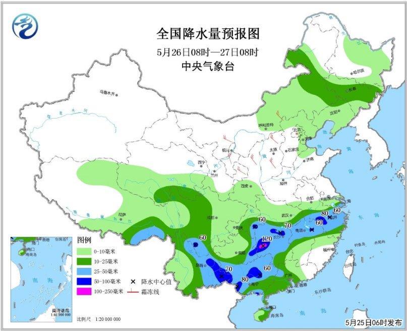 全国强降雨落区预报图(5月25日08时-26日08时)