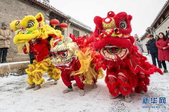 """河南安阳:雪中舞狮别样""""红"""""""