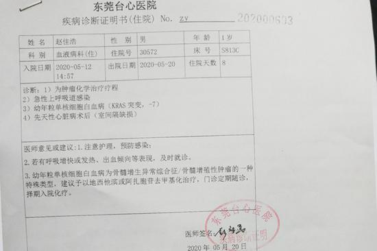 图为小佳浩近期的诊断证明书