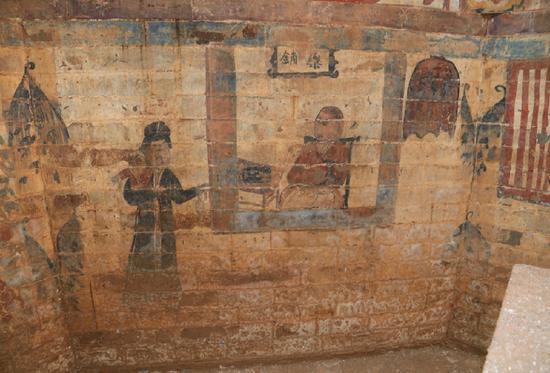 """墓室西南壁绘制的 """" 行医图 """"。"""