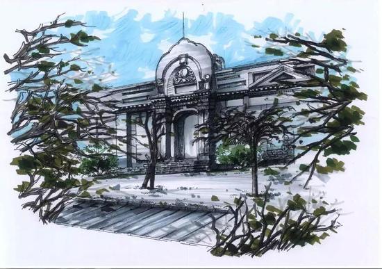 河南大学生用钢笔手绘校园美景 如此惊艳