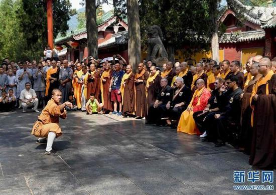 7月1日,少林武僧为美国少林拳法联盟的学员和游客们表演少林象形拳。