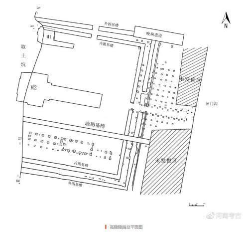 资料图:高陵陵园总平面图。河南省文物考古研究院官方微博截图