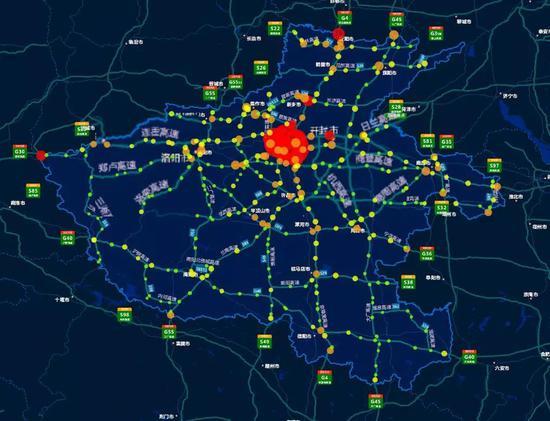 图3。全省高速公路收费站流量热力图