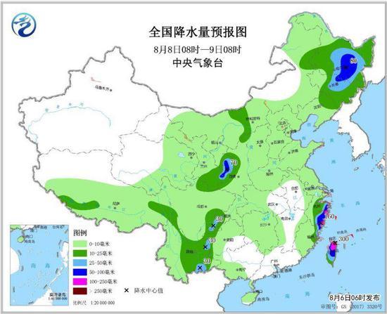 图4 全国降水量预报图(8月8日8时-9日8时)