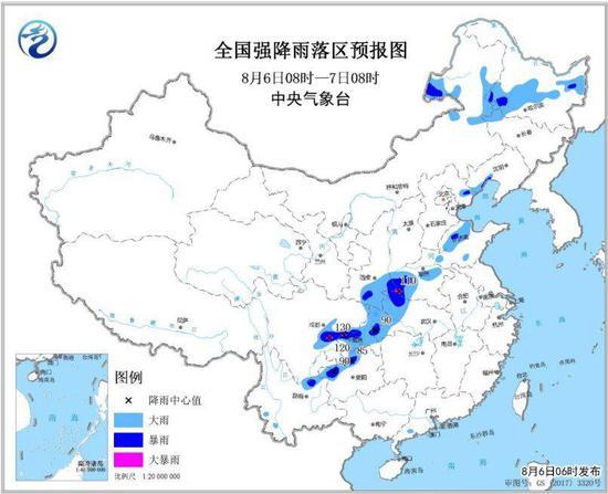 图1 全国强降雨落区预报图(8月6日8时-7日8时)