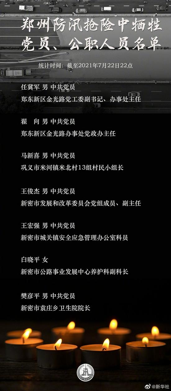 沉痛悼念!郑州7名牺牲党员干部名单公布