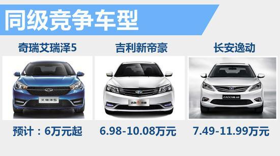 瑞艾瑞泽5竞争车型-奇瑞新A级车3月18日上市 竞争吉利帝豪高清图片