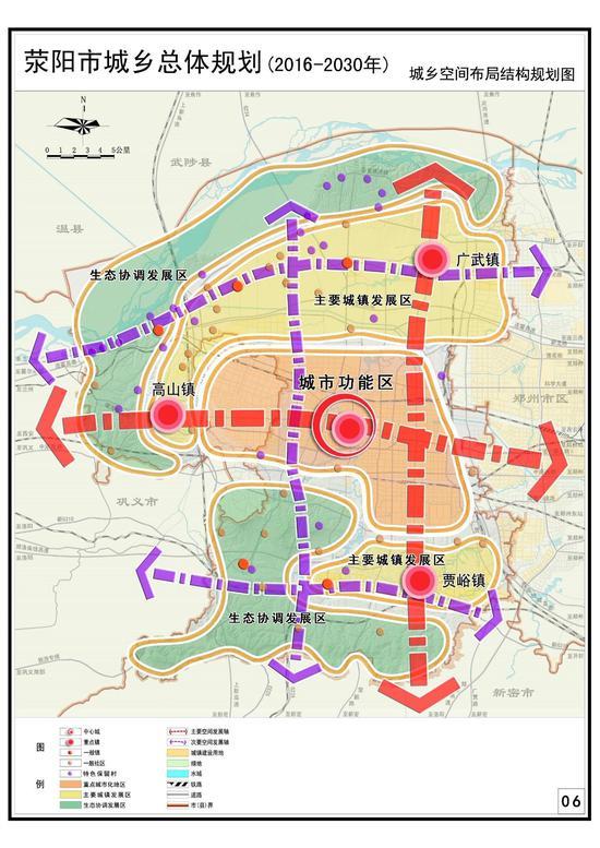 来源:假装在郑州   继东部新城白沙、绿博规划之后,郑州西部新城也有大动作:《荥阳市城乡总体规划(2016-2030)》公示!   4月17日,荥阳市规划设计中心公布了《荥阳市城乡总体规划(2016-2030)》,面向社会公示征求意见。   根据《规划》,作为郑上新区的重要组成部分,到2030年,荥阳市域人口规模达到120万人,城镇化率93%;按照四心、五轴、五区的网络化城镇发展格局,将荥阳打造成中原经济区新材料、先进制造业和健康产业基地;郑州都市区西部新城综合服务中心;以诗歌、象棋文化为特色的园林城