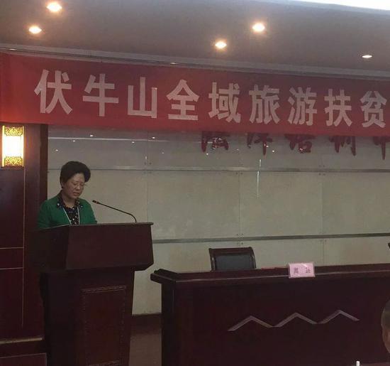 嵩县县长宗玉红宣读《伏牛山全域旅游扶贫联盟倡议书》