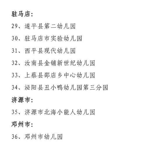 """撤销""""河南省示范幼儿园""""称号的幼儿园名单"""