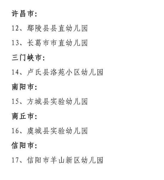 满五年通过复验评估的河南省示范幼儿园名单