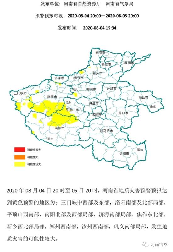 #河南省汛期地质灾害气象预警预报#