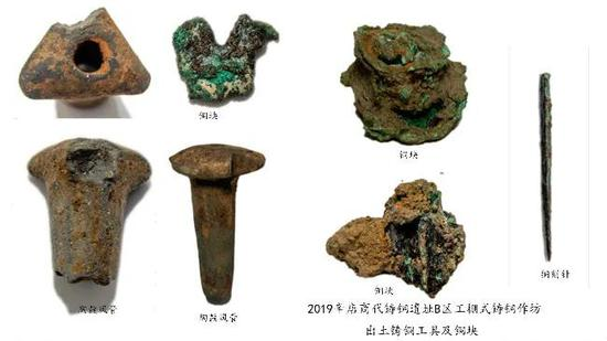 辛店商代铸铜遗址B区工棚式铸铜作坊出土铸铜工具及铜块