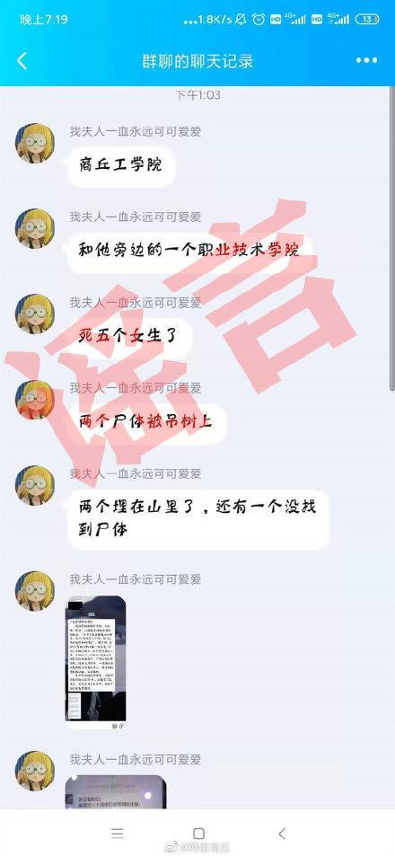 网传商丘高校5名女生遇害?官方回复:谣言