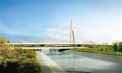 效果图拉线桥为西四环跨南水北调渠桥