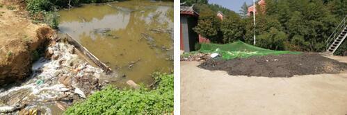 图为污水已形成小溪流 污泥、粗格栅垃圾露天堆放。图片来源:生态环境部网站