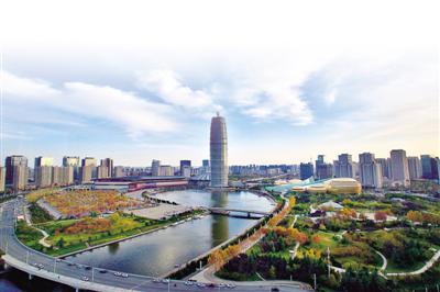 俯瞰秋日郑东新区CBD 郑报全媒体记者 李新华 图