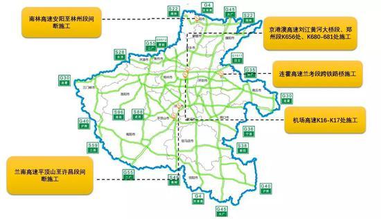图5。全省高速公路施工分布示意图