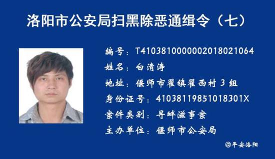 洛阳市公安局发布扫黑除恶通缉令汇总