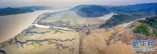 8月10日,小浪底库区上游黄河河床,由水流冲刷而成的图案颇为神奇。