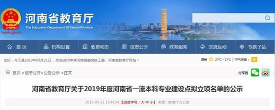 2019河南一流本科专业建设点名单公示 共275个专业