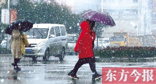 如期而至的雪花纷纷扬扬地洒落在郑州街头