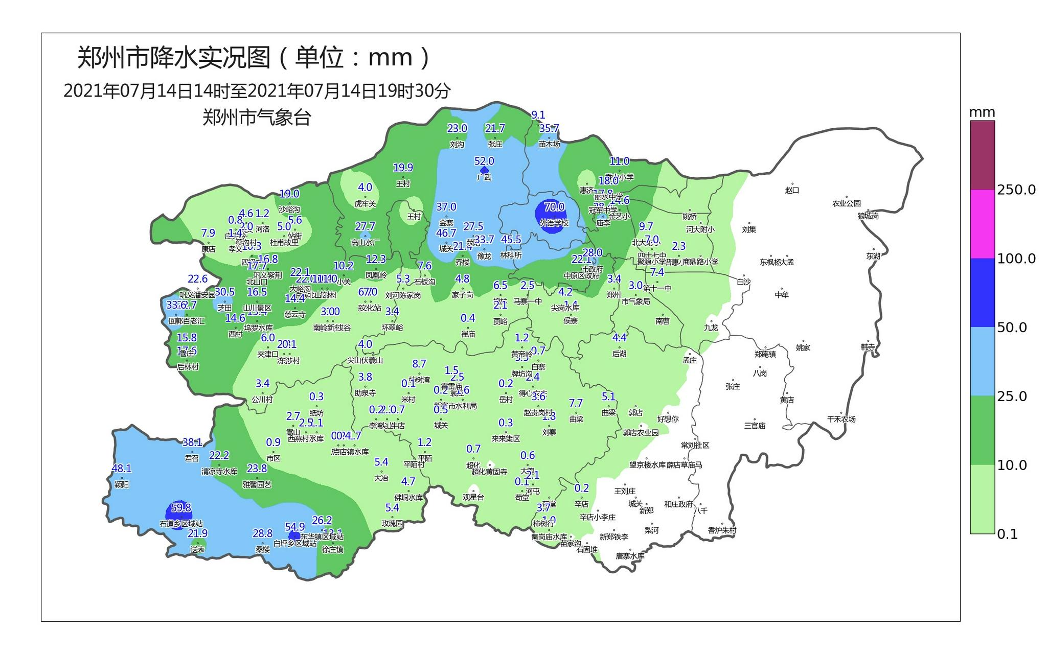 郑州暴雨!中原区外语学校站点积水量达70毫米