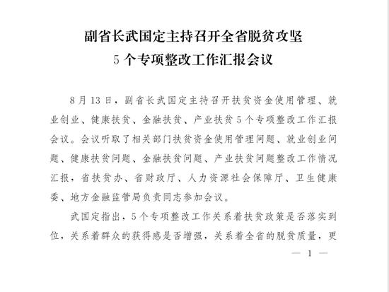 副省长武国定主持召开全省脱贫攻坚 5个专项整改工作汇报会议
