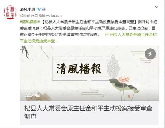 杞县人大常委会原主任金和平主动投案接受审查调查