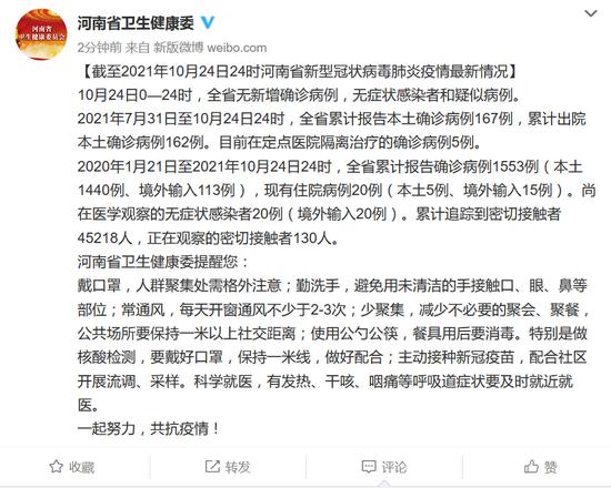 10月24日河南无新增确诊病例 无症状感染者和疑似病例