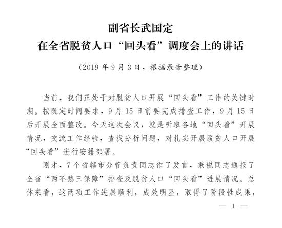 """副省长武国定在全省脱贫人口""""回头看""""调度会上的讲话"""