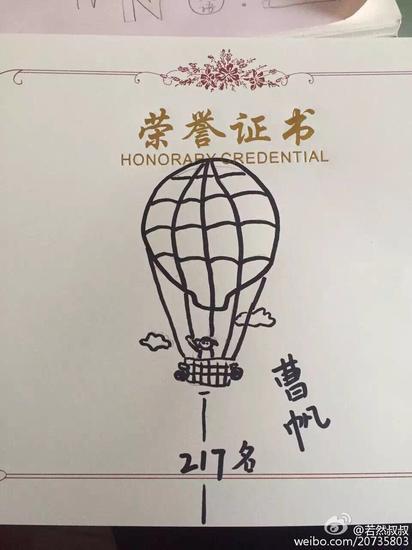美女老师手绘卡通荣誉证书
