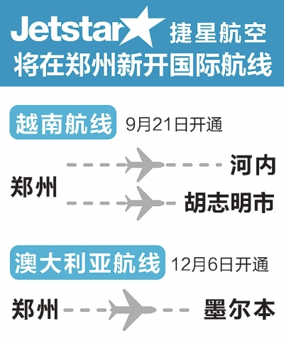 郑州机场将新开三条国际客运航线 可直飞越南两城