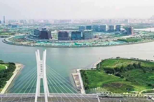 建设中的郑州北龙湖湖心岛(图片来源:河南省重点项目建设网)