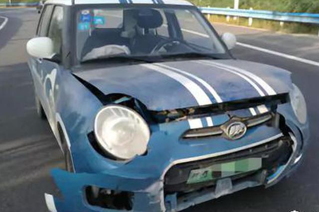 郑州男子租共享汽车上高速 汽车爆胎失控车头被撞烂