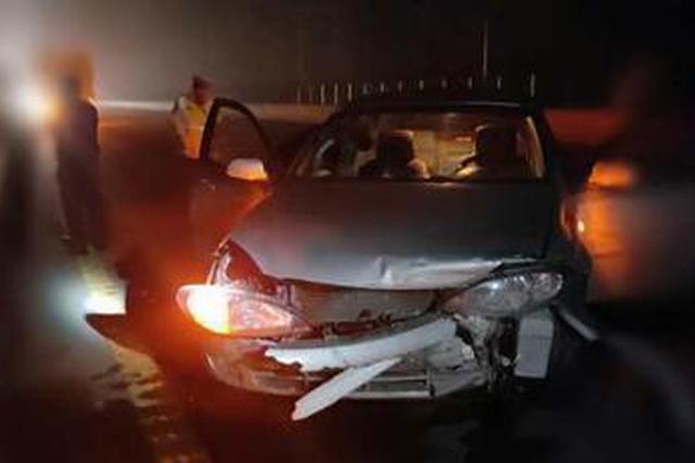 安阳:雾夜3人高速路抓猪 后车司机发现人后机智撞猪