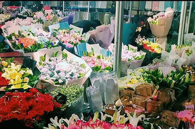 情人节郑州鲜花一天两个价 99朵红玫瑰成爆款